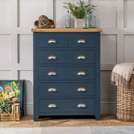 Westbury Blue Tall Painted 2 Over 4 Drawer Chest Of Drawers The Furniture Market