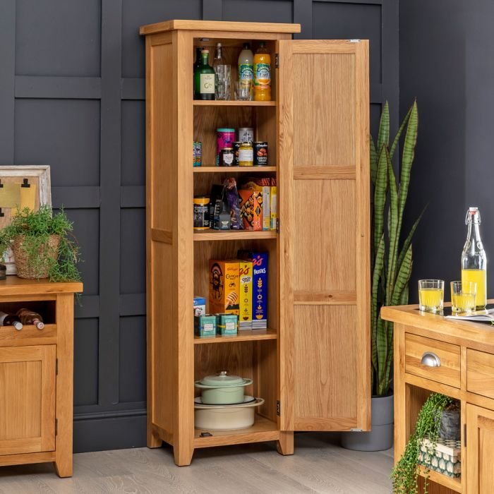 Cheshire Oak Single Shaker Kitchen, Tall Kitchen Pantry Cabinet Furniture