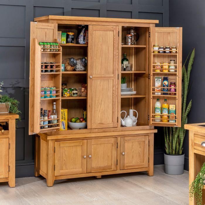 Cheshire Oak Large Triple Kitchen Larder Pantry Cupboard The Furniture Market