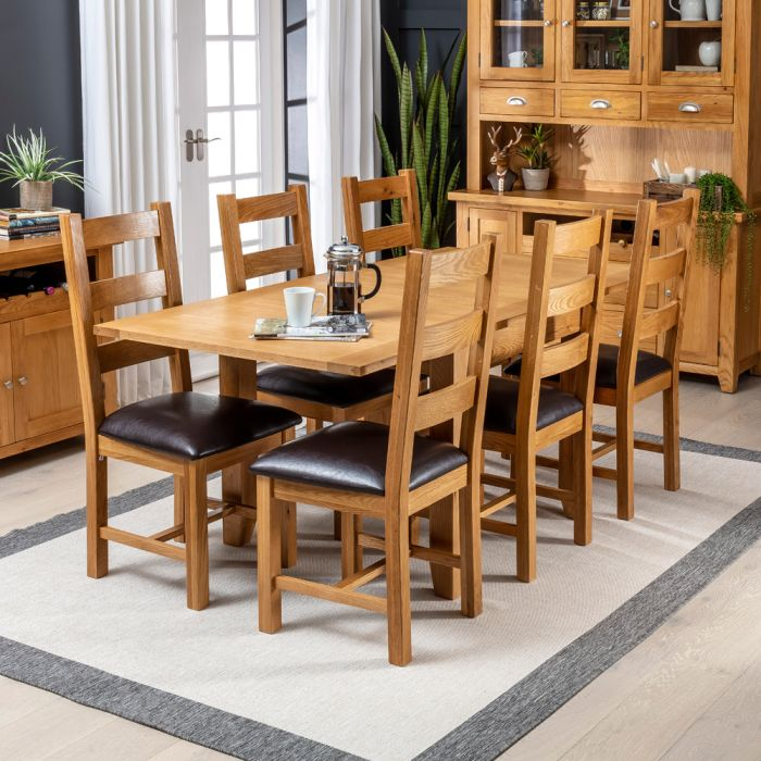 Solid Oak Square Flip Top Dining Table, Dining Room Chair Sets