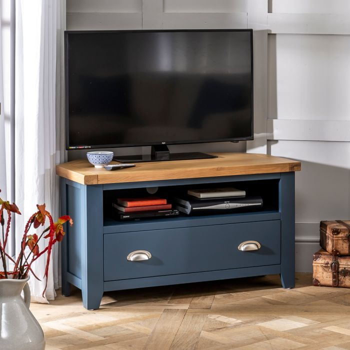Westbury Blue Painted Corner Tv Unit To Fit Tvs Up To 48 The Furniture Market