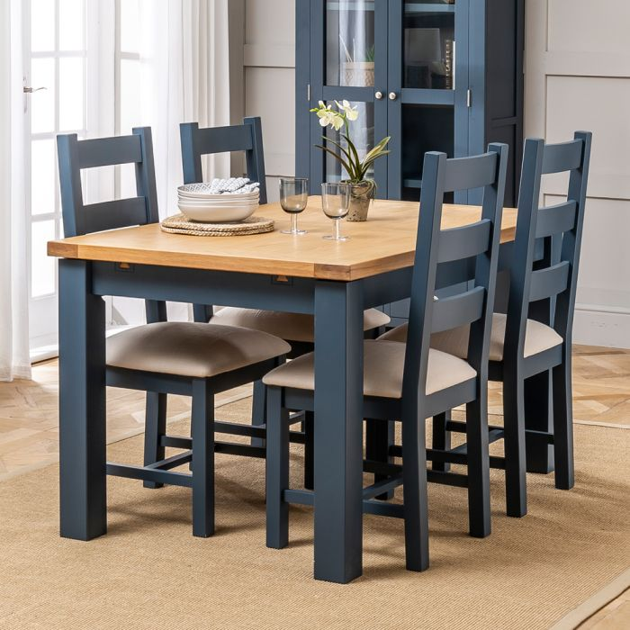 Westbury Blue Painted Extending Dining Table 4 Dining Chairs Set The Furniture Market