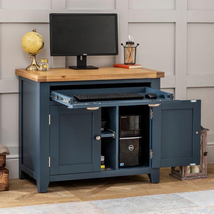 Westbury Blue Painted Hideaway Home Office Computer Desk