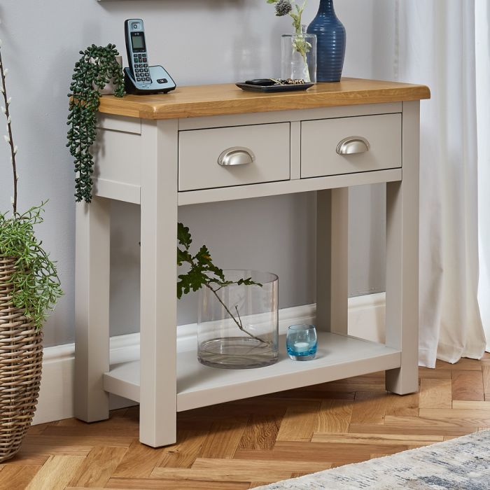 Cotswold Grey Painted 2 Drawer Hall Console Table The Furniture Market - Small Console Table With Drawers