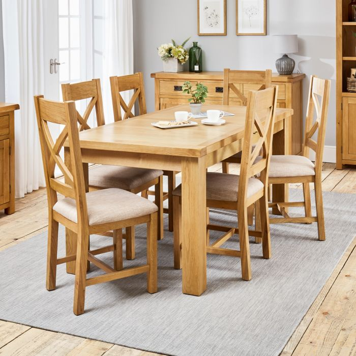 Hereford Rustic Oak 1 7m Dining Table, Rustic Dining Room Table Sets