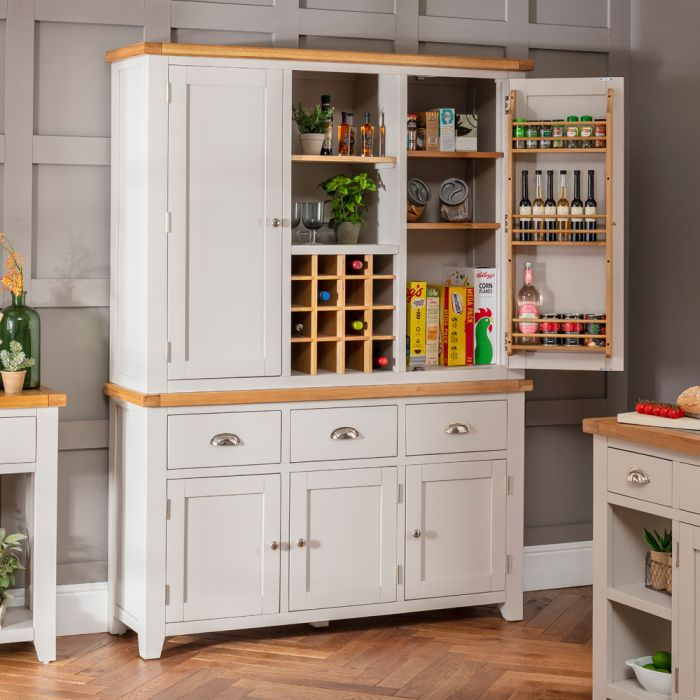 Downton Grey Triple Kitchen Larder Pantry Cupboard The Furniture Market