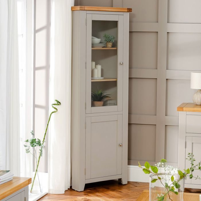 Downton Grey Painted Tall Glazed Corner Display Cabinet The Furniture Market