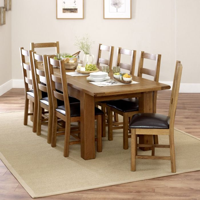 Rustic Oak Large Extending Dining Table 8 Ladder Back Chairs The Furniture Market