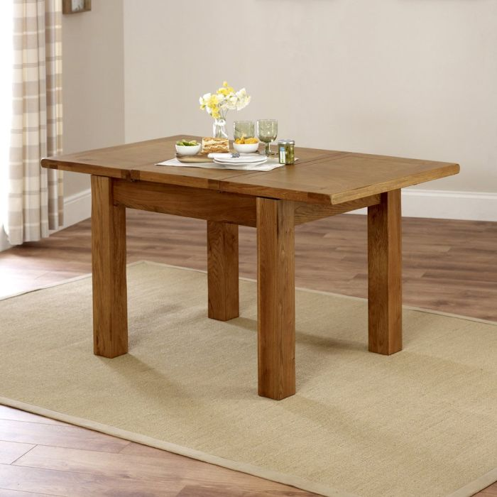 Rustic Oak Small 4 6 Seater Extending Dining Table The Furniture Market