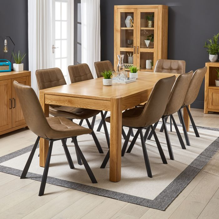 Soho Oak Large Dining Table With 8 Qty Hopper Brown Chair Set The Furniture Market