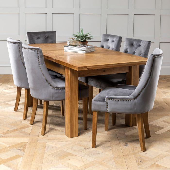 Solid Oak Medium Extending Dining Table 6x Storm Grey Velvet Chairs The Furniture Market