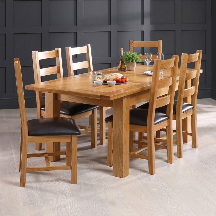Solid Oak Medium Extending Dining Table 6 Ladder Back Chair Set The Furniture Market