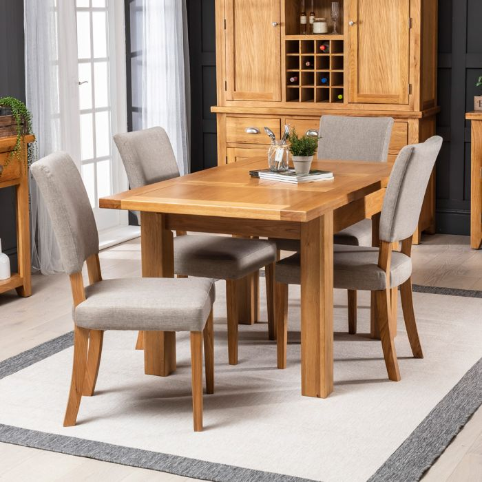 Solid Oak Small Extending Table 4 Natural Fabric Dining Oak Chairs The Furniture Market