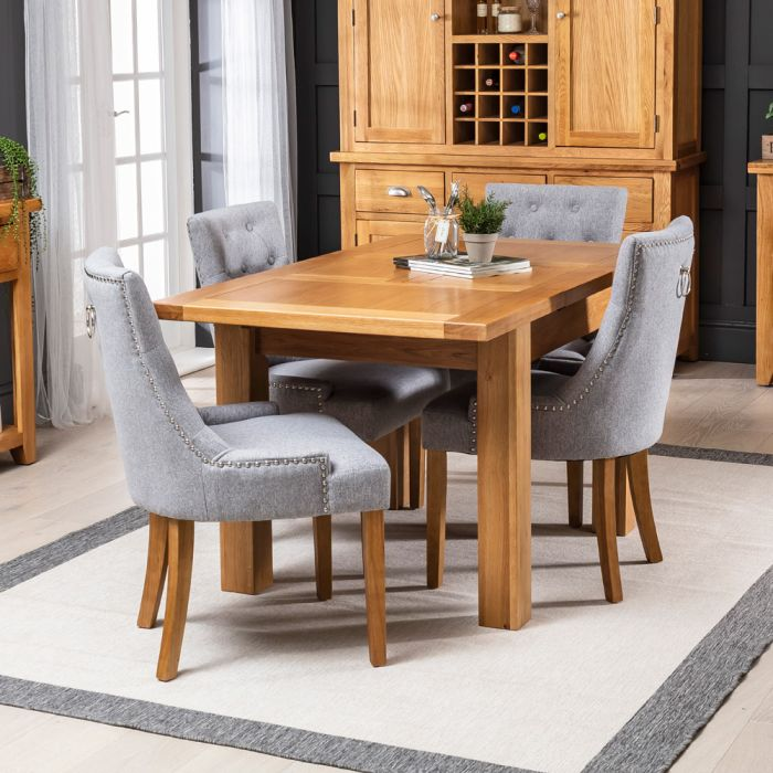 Solid Oak Small Extending Table 4 X Grey Fabric Chairs The Furniture Market