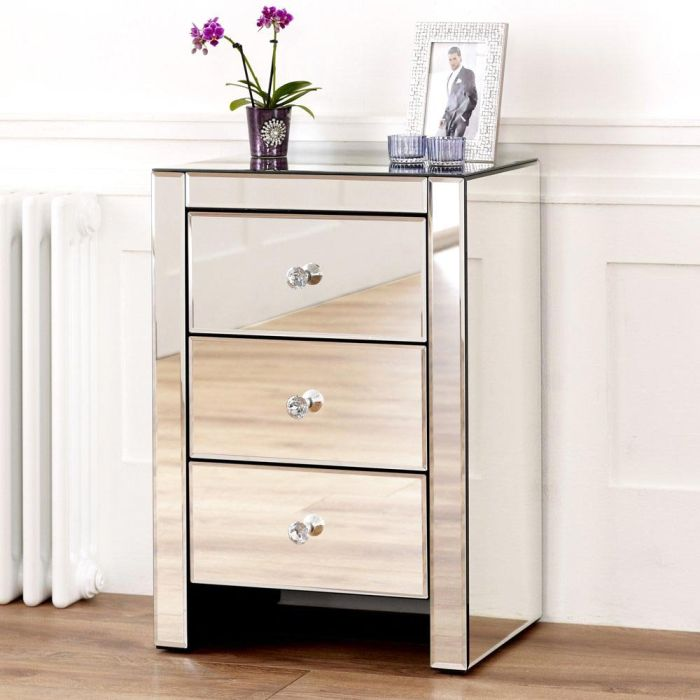 Pair Of Venetian Mirrored 3 Drawer, 3 Drawer Mirrored Bedside Table