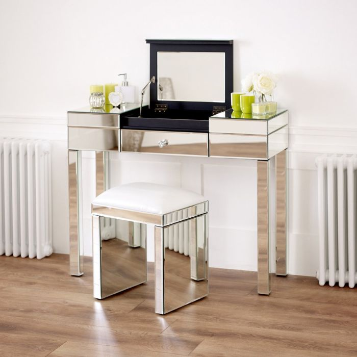 Venetian Mirrored Compartment Dressing, White Dressing Table With Built In Mirror
