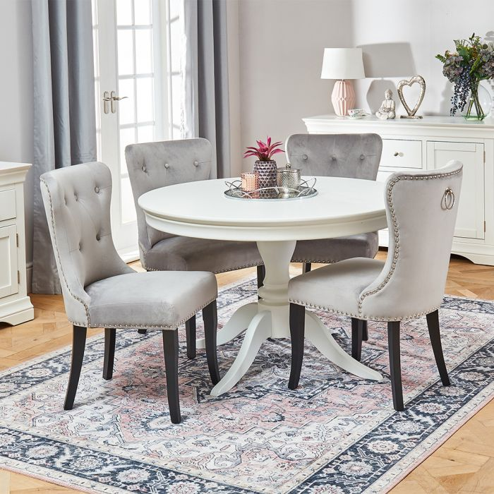 Wilmslow White Round Dining Table With, Round Gray Dining Table