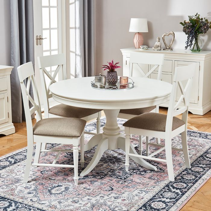 Wilmslow White Painted Round Dining, Round White Dining Tables