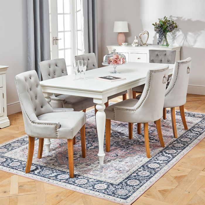 Wilmslow White Rectangle Dining Table With 6 Light Grey Velvet Chairs The Furniture Market