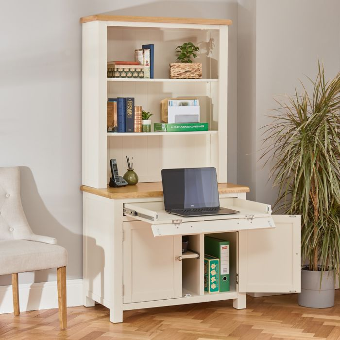 Cotswold Cream Painted Hideaway, Desk And Shelves