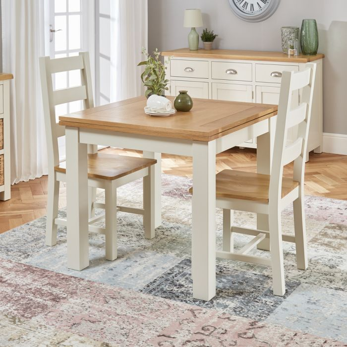 Cotswold Cream Square Flip Top Dining Table And 2 Chair Set The Furniture Market