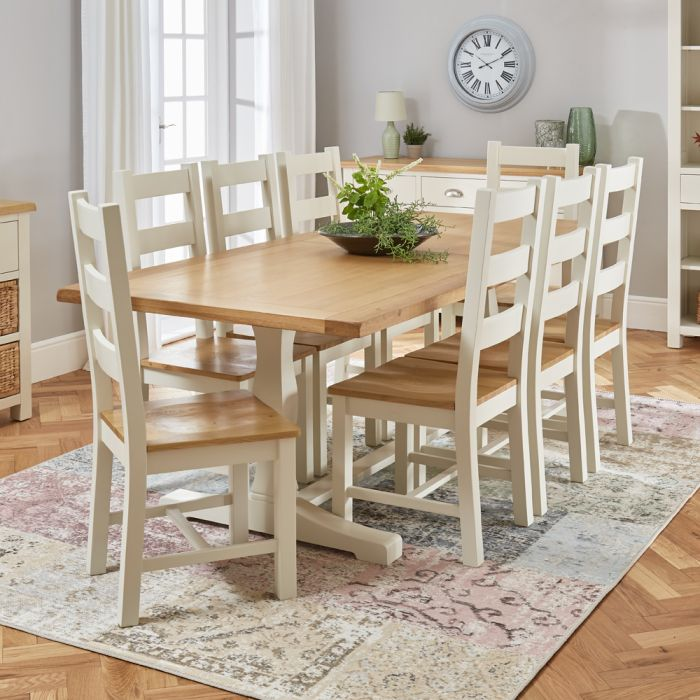 Cotswold Cream Painted Oak 2 2m Refectory Dining Table And 8 Chair Set The Furniture Market