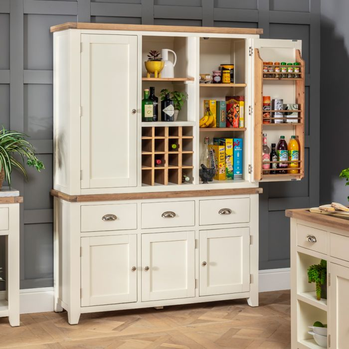Cheshire Cream Triple Kitchen Larder Pantry Cupboard The Furniture Market