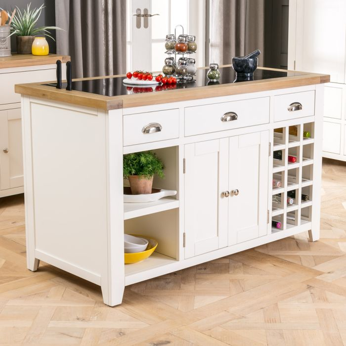Cheshire Cream Painted Large Kitchen Island With Black Granite Top The Furniture Market