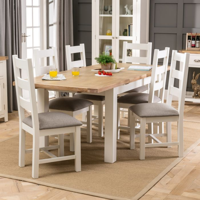 Cheshire Cream Painted Extending Dining Table 6 Dining Chairs Set The Furniture Market
