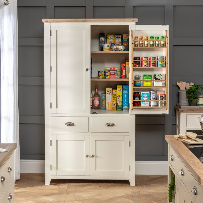 Cheshire Cream Painted Kitchen Double Freestanding Larder Pantry Cupboard The Furniture Market
