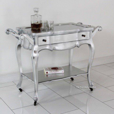 French silver drinks trolley