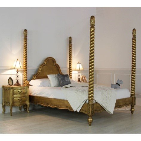 french fourposter gold leaf bed