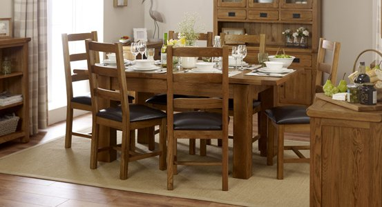 Cream Leather Oak Dining Set