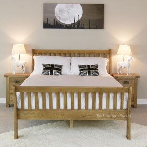 Cheshire oak double sleigh bed - Front view