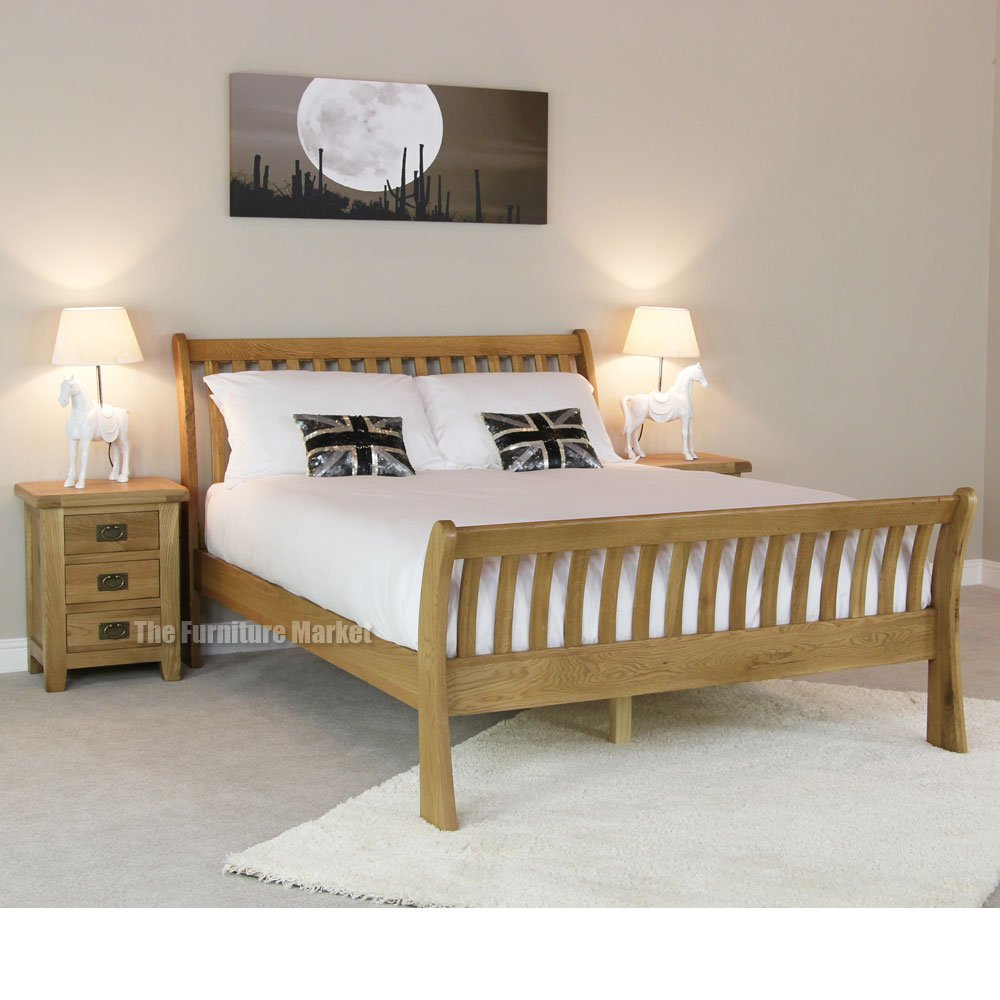 Cheshire oak double sleigh bed - side view