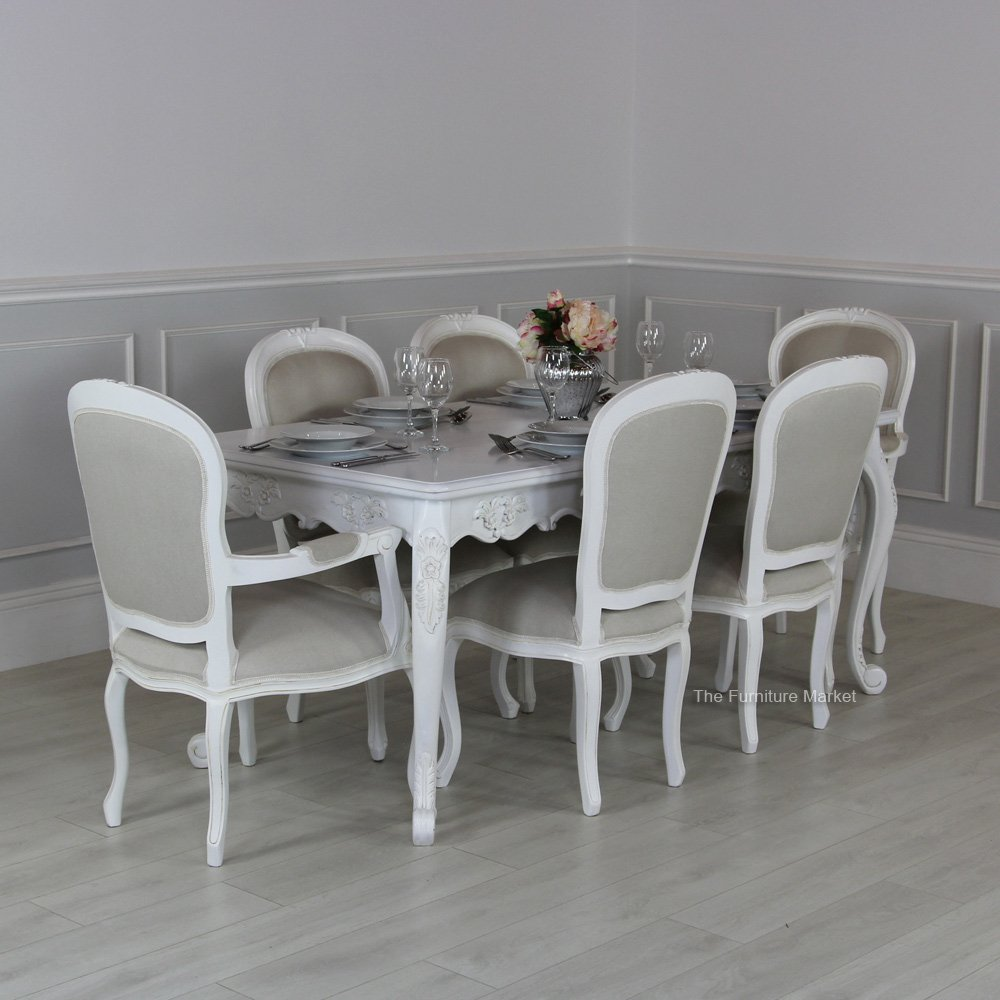 French Chateau white carved 6 seater dining set & French chateau white carved 6 seater dining set Archives - The ...