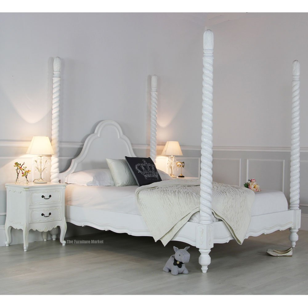 French chateau white painted four poster bed archives for White four post bed