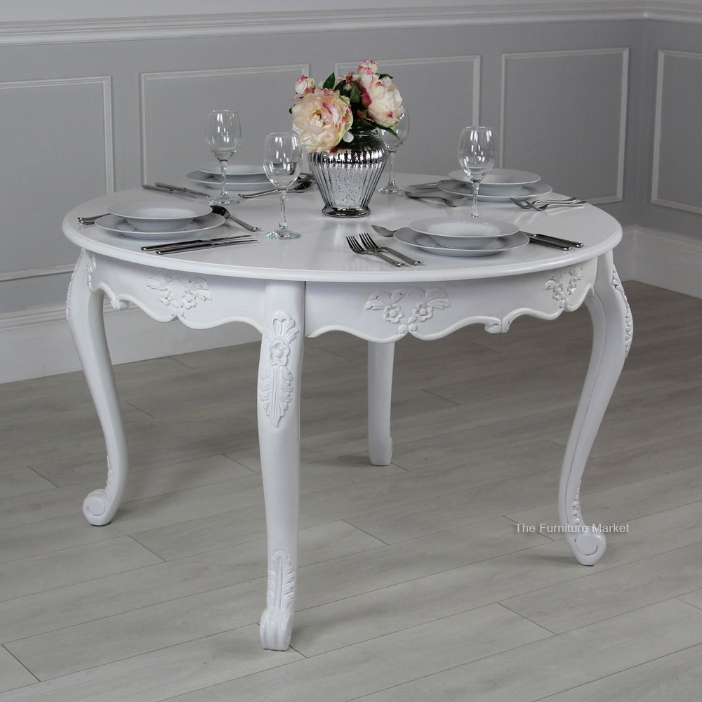 Product Of The Week French Chateau White Painted Round 4 Seater