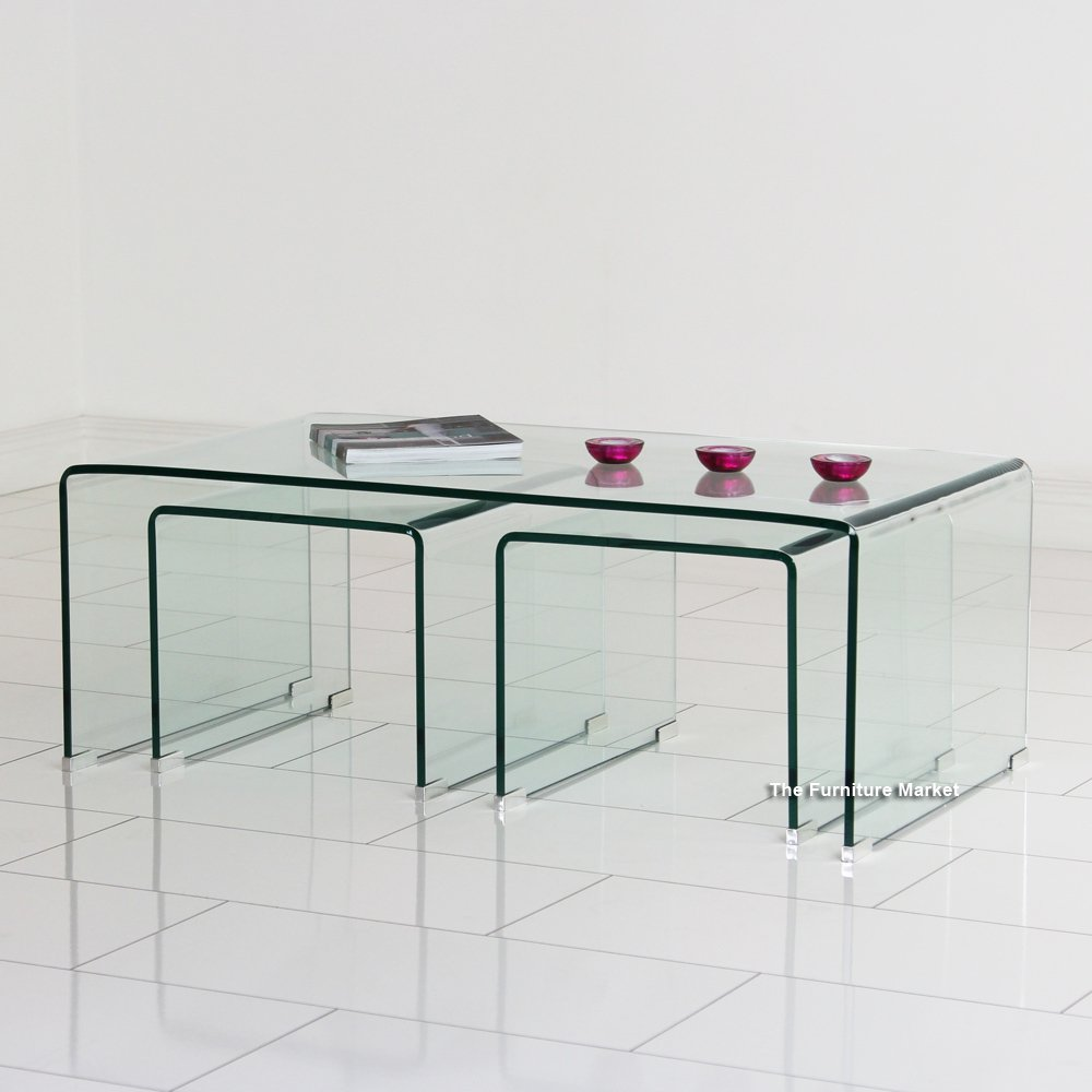 Geo glass coffee table with two nest tables archives the furniture market Geo glass coffee table