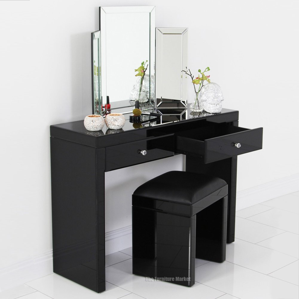 Mirrored Black Glass Dressing Table Stool Archives The