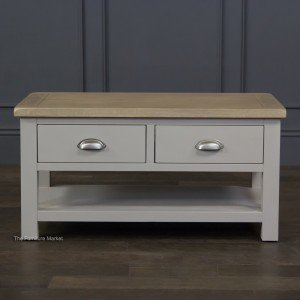 Grey Stone Painted 2 Drawer Coffee Table - Front