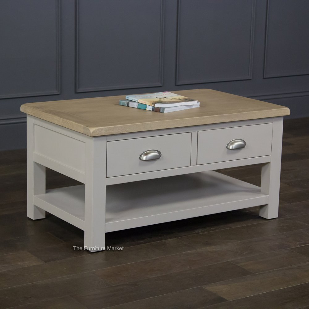 Grey Stone Painted 2 Drawer Coffee Table
