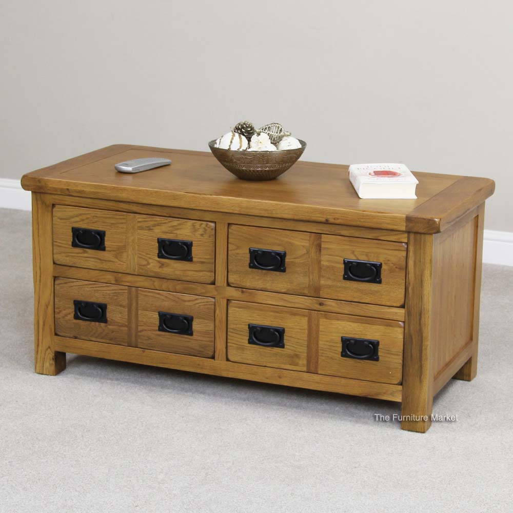 Product Of The Week Rustic Oak 4 Drawer Storage Coffee Table The Furniture Market