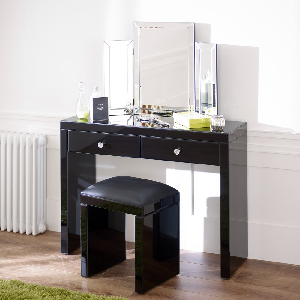 Mirrored black glass dressing table stool archives the for Narrow dressing table