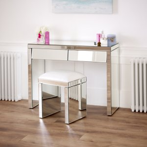 50s Style Angled Dressing Table with White Stool