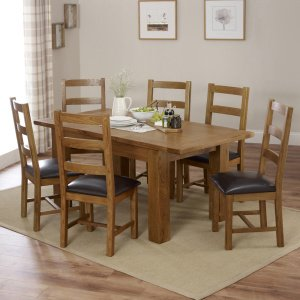 Rustic Oak Medium Extending Dining Table with 6 Ladder Back Chairs