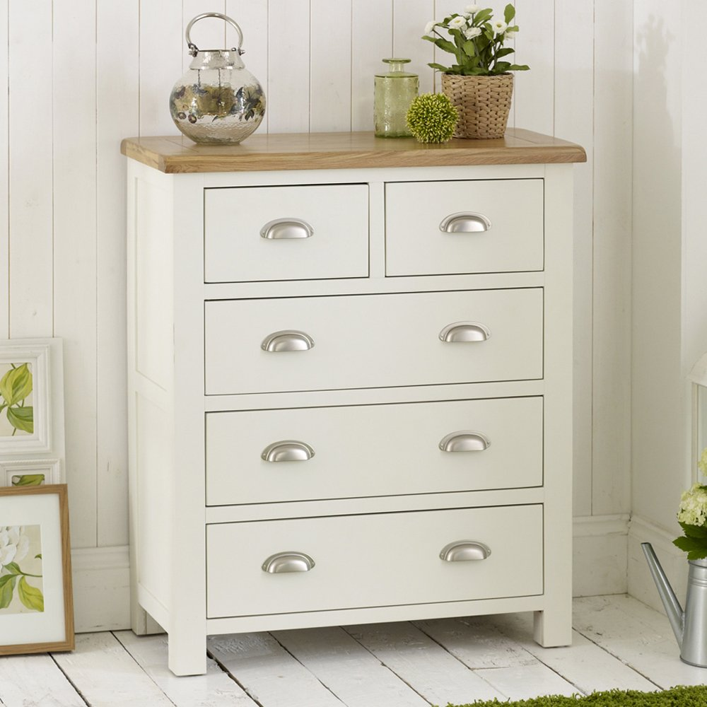 cotswold cream painted 2 over 3 drawer chest of drawers with oak top - Painted Bedroom Furniture