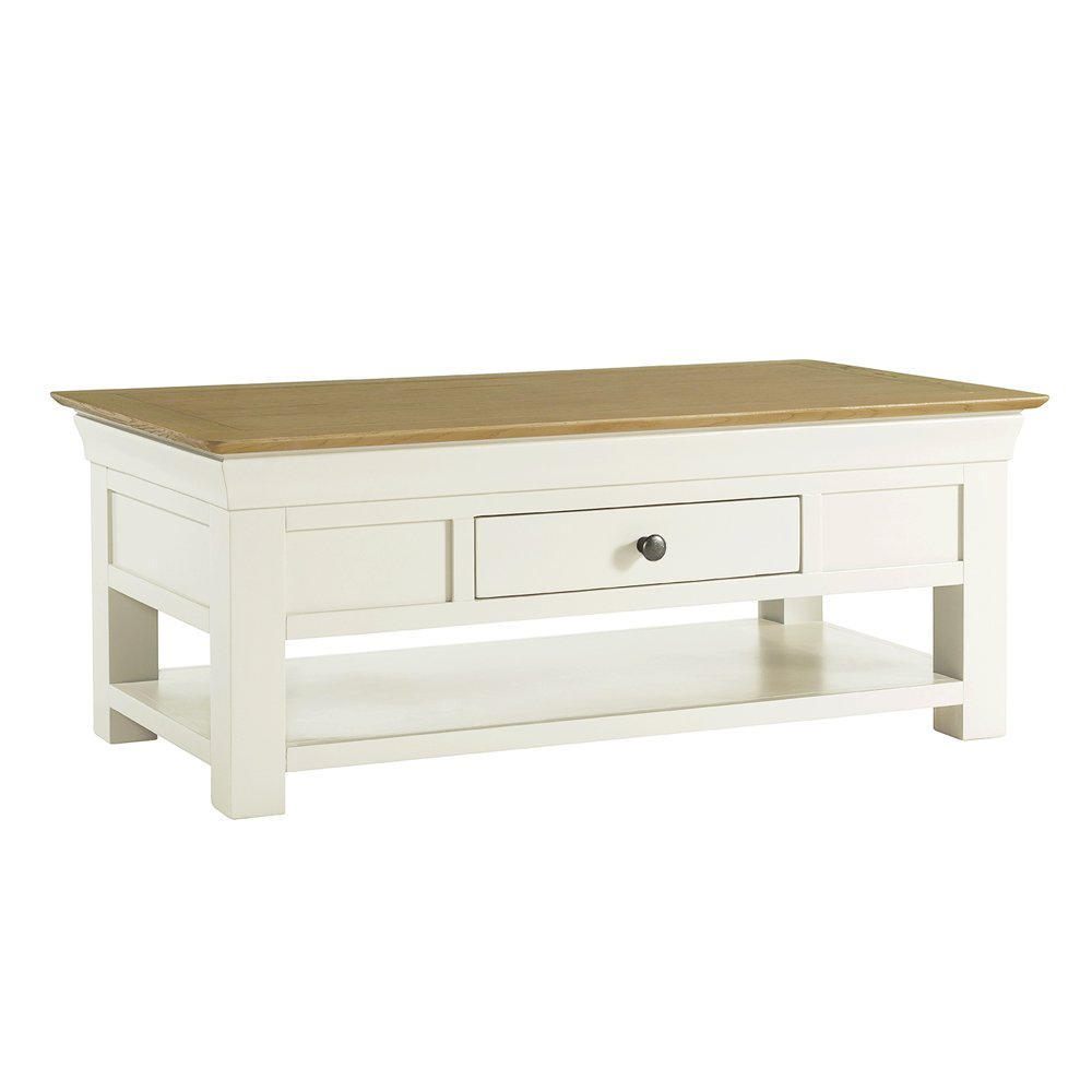 country cream painted oak coffee table with shelf and drawer