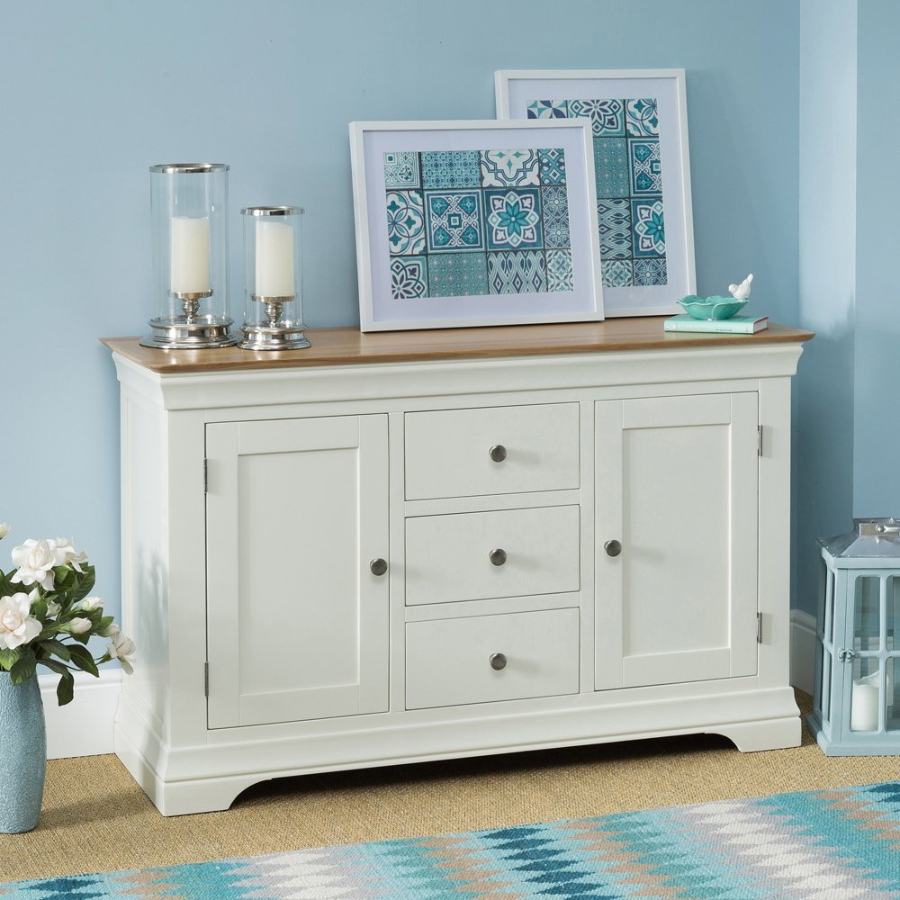 Country Cream Painted Oak Large Sideboard