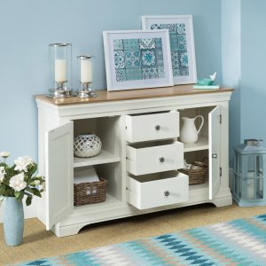 Country Cream Painted Oak Large Sideboard Open